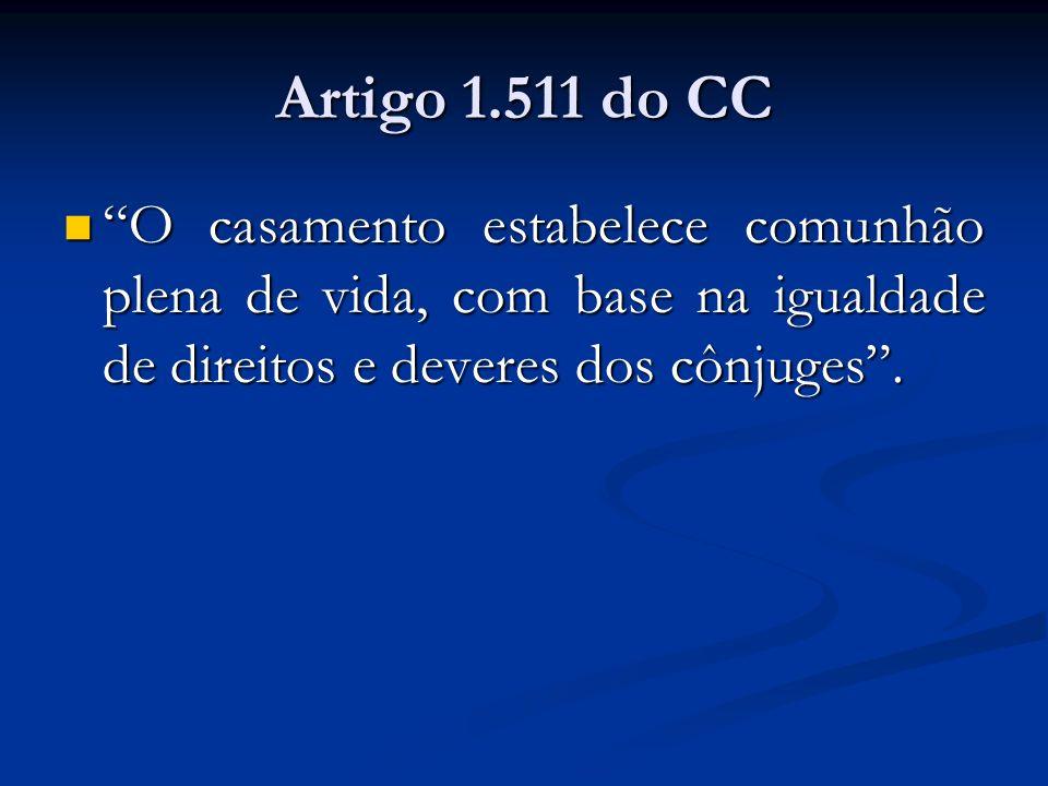 Artigo 1.511 do CC O casamento estabelece comunhão plena de vida, com base na igualdade de direitos e deveres dos cônjuges. O casamento estabelece com