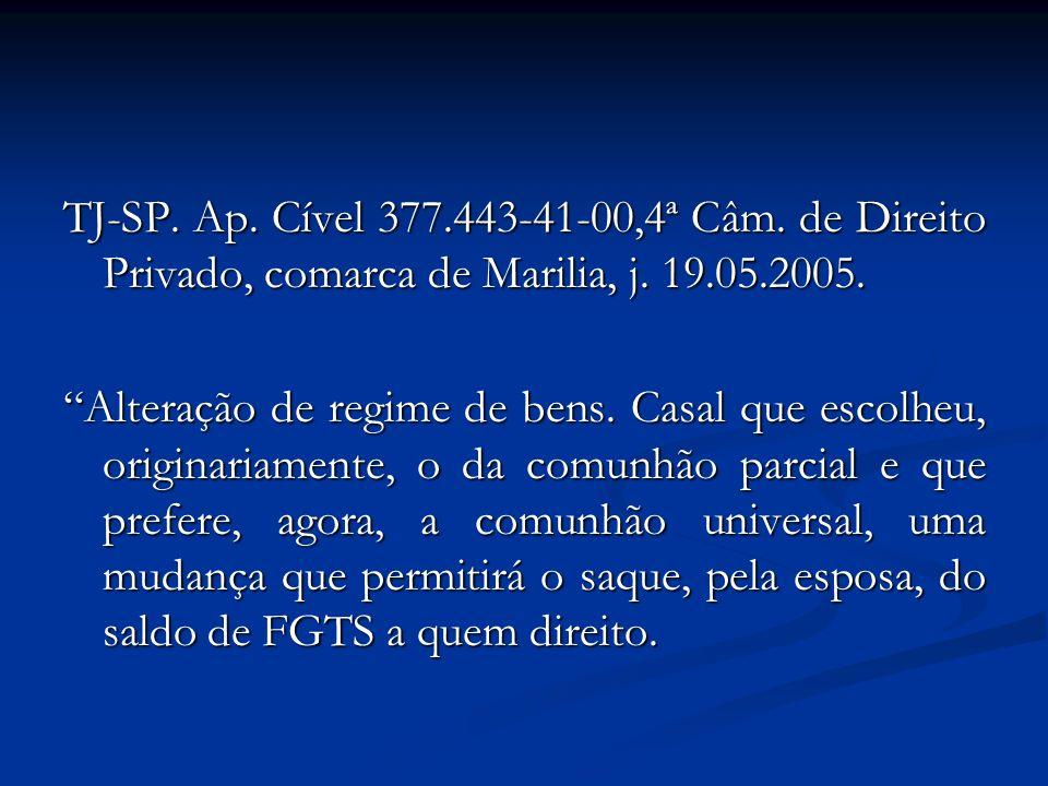 TJ-SP. Ap. Cível 377.443-41-00,4ª Câm. de Direito Privado, comarca de Marilia, j. 19.05.2005. Alteração de regime de bens. Casal que escolheu, origina