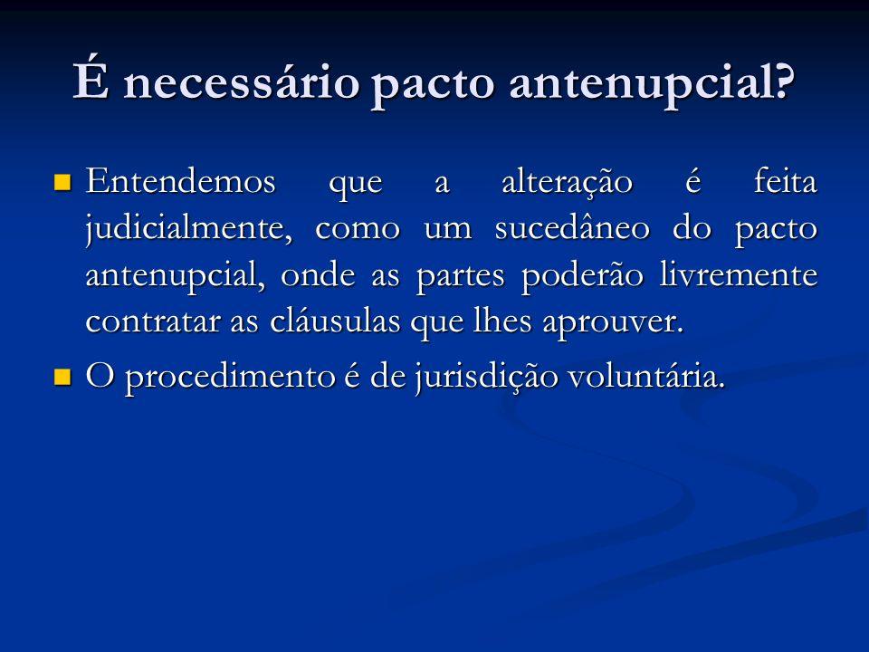 É necessário pacto antenupcial? Entendemos que a alteração é feita judicialmente, como um sucedâneo do pacto antenupcial, onde as partes poderão livre