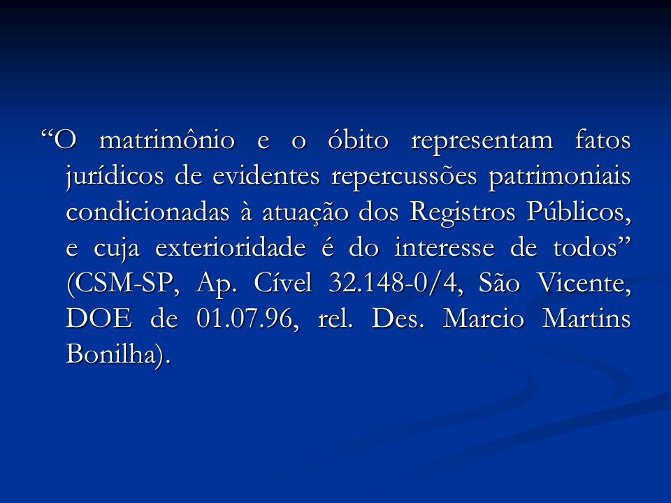 O matrimônio e o óbito representam fatos jurídicos de evidentes repercussões patrimoniais condicionadas à atuação dos Registros Públicos, e cuja exter