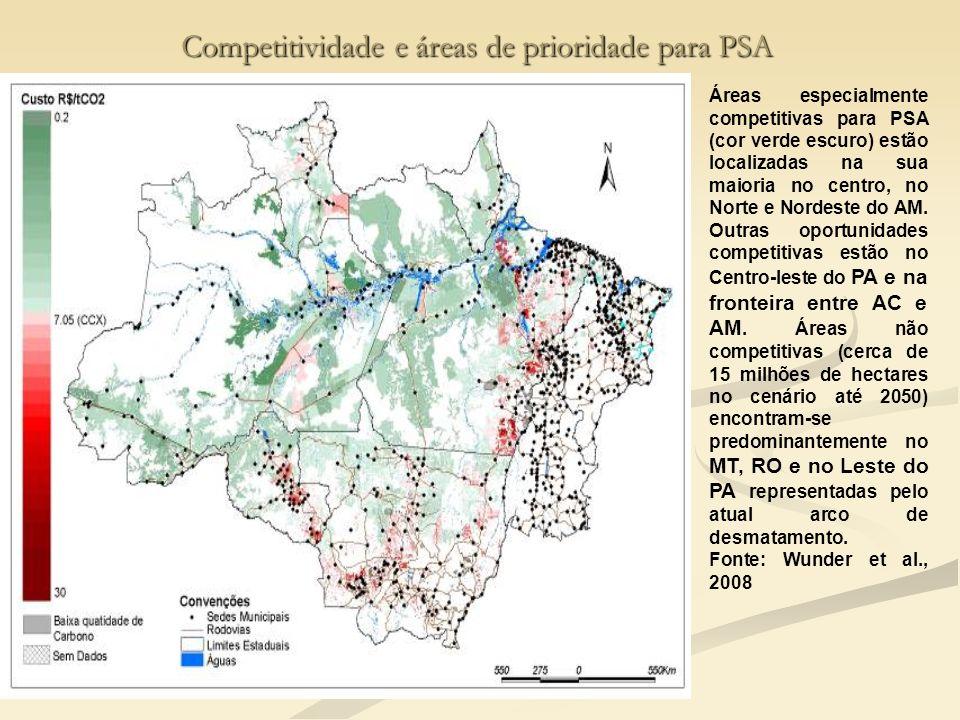 Competitividade e áreas de prioridade para PSA Áreas especialmente competitivas para PSA (cor verde escuro) estão localizadas na sua maioria no centro