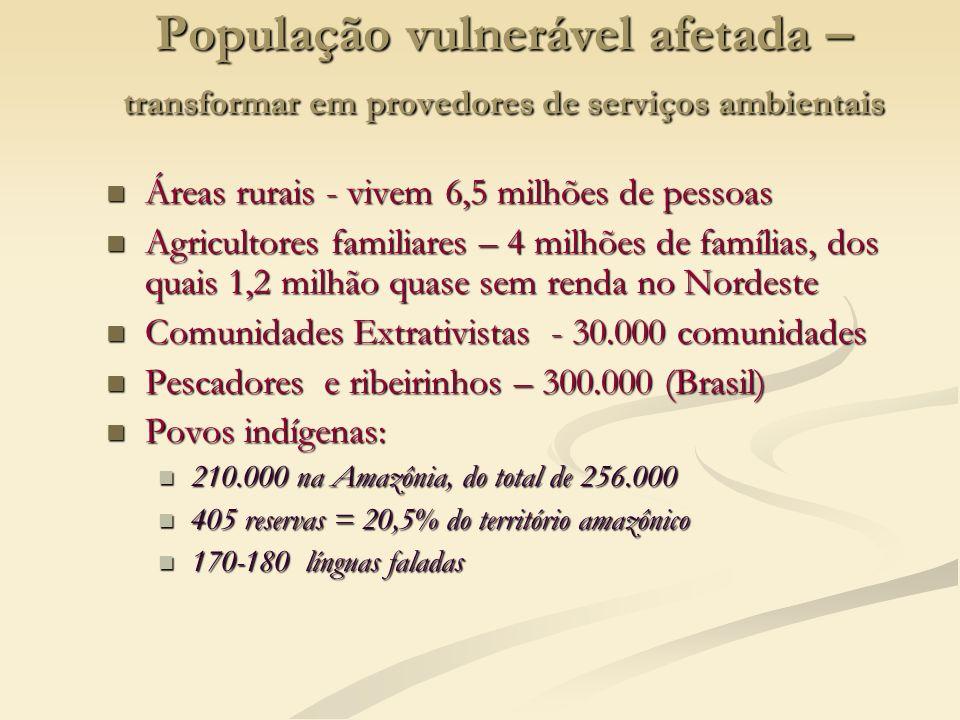 População vulnerável afetada – transformar em provedores de serviços ambientais Áreas rurais - vivem 6,5 milhões de pessoas Áreas rurais - vivem 6,5 m