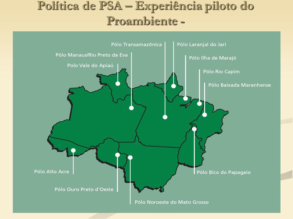 Política de PSA – Experiência piloto do Proambiente -