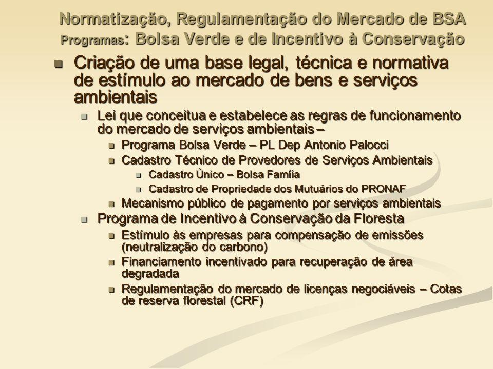 Normatização, Regulamentação do Mercado de BSA Programas : Bolsa Verde e de Incentivo à Conservação Criação de uma base legal, técnica e normativa de