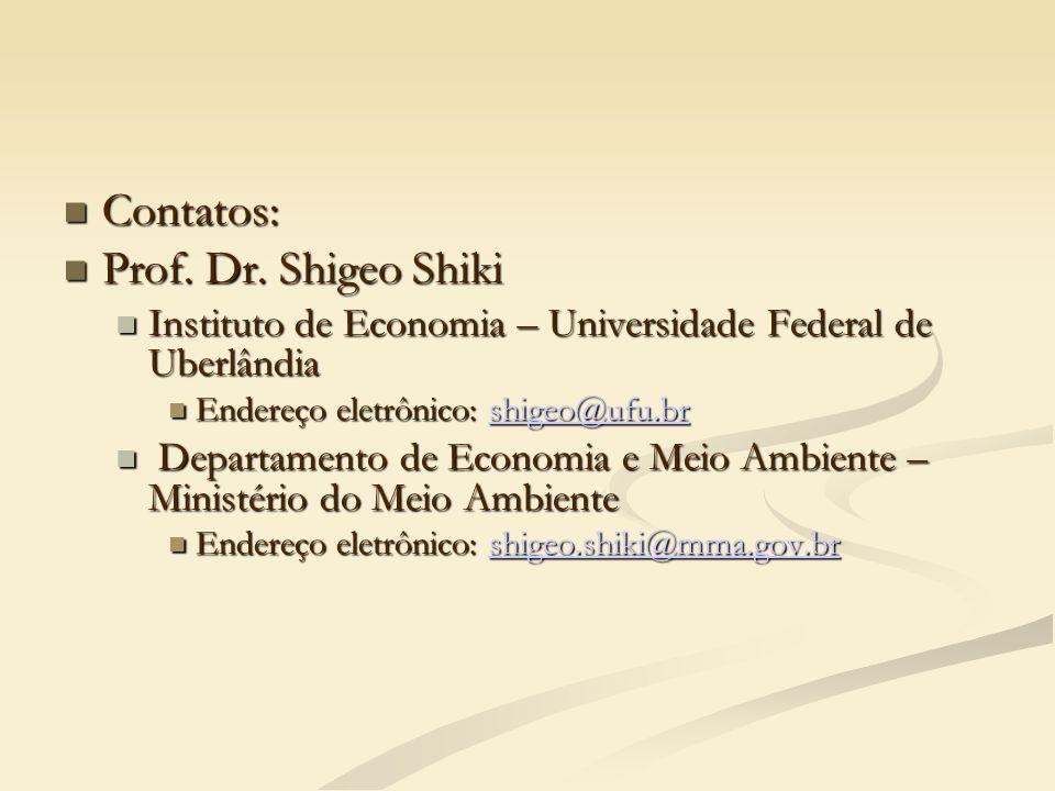 Contatos: Contatos: Prof. Dr. Shigeo Shiki Prof. Dr. Shigeo Shiki Instituto de Economia – Universidade Federal de Uberlândia Instituto de Economia – U