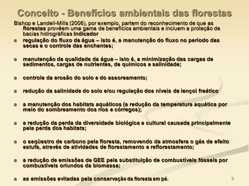 3 Conceito - Benefícios ambientais das florestas Bishop e Landell-Mills (2006), por exemplo, partem do reconhecimento de que as florestas provêem uma