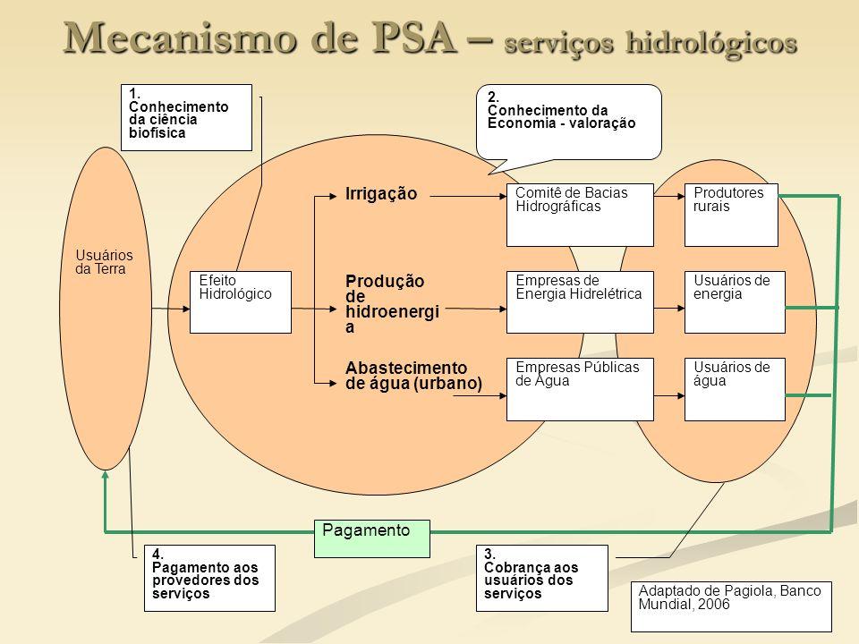 8 Mecanismo de PSA – serviços hidrológicos Usuários da Terra Efeito Hidrológico Irrigação Produção de hidroenergi a Abastecimento de água (urbano) Com