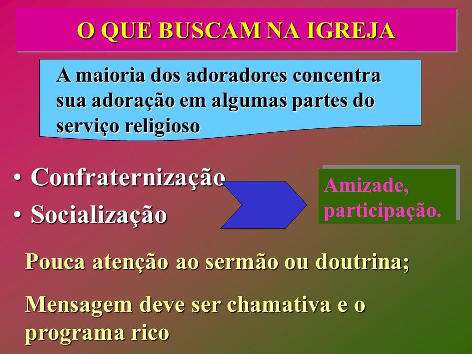 O QUE BUSCAM NA IGREJA ConfraternizaçãoConfraternização SocializaçãoSocialização A maioria dos adoradores concentra sua adoração em algumas partes do