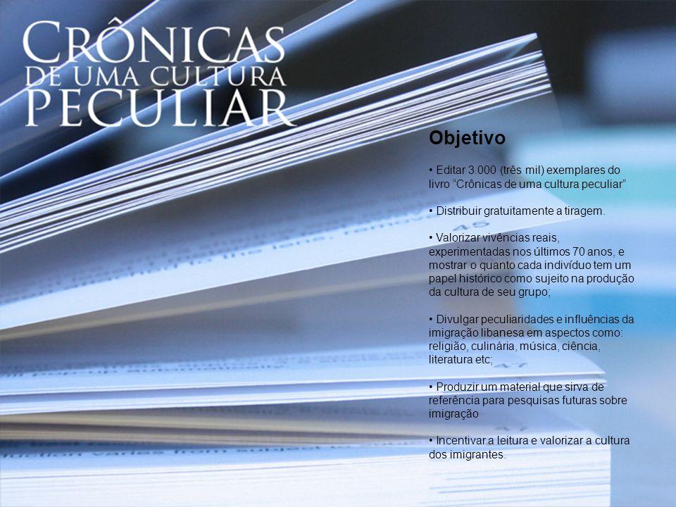 Objetivo Editar 3.000 (três mil) exemplares do livro Crônicas de uma cultura peculiar Distribuir gratuitamente a tiragem.