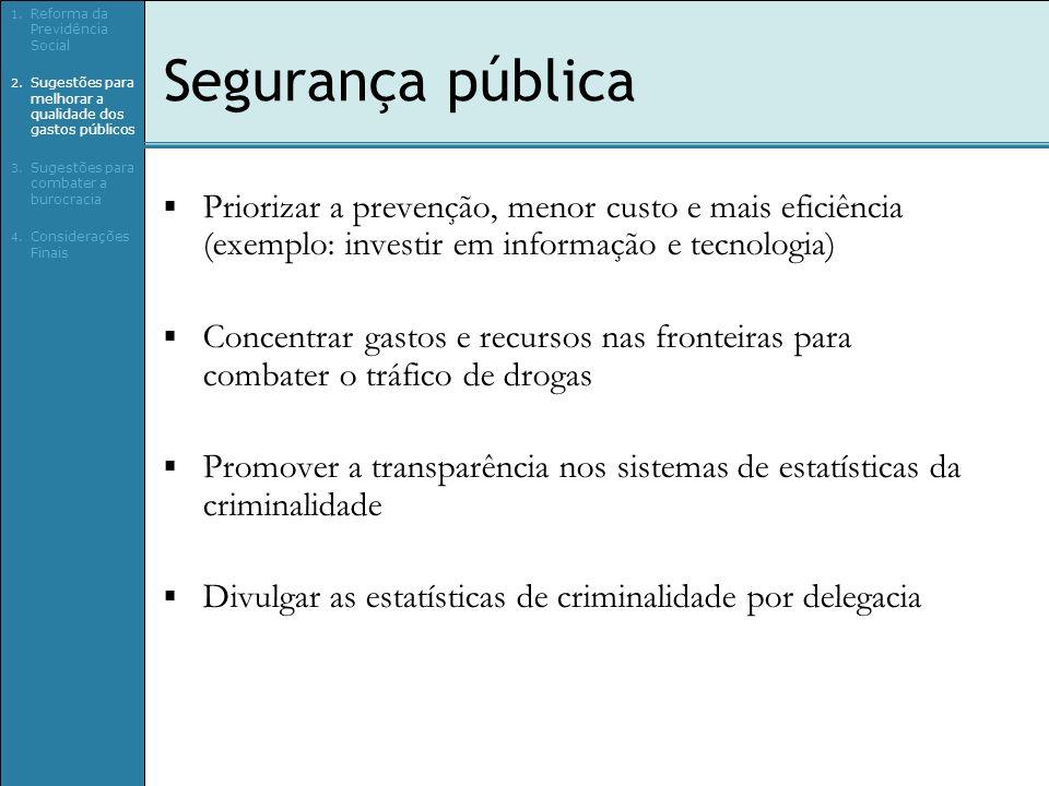 Segurança pública Priorizar a prevenção, menor custo e mais eficiência (exemplo: investir em informação e tecnologia) Concentrar gastos e recursos nas