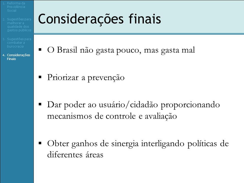 Considerações finais O Brasil não gasta pouco, mas gasta mal Priorizar a prevenção Dar poder ao usuário/cidadão proporcionando mecanismos de controle