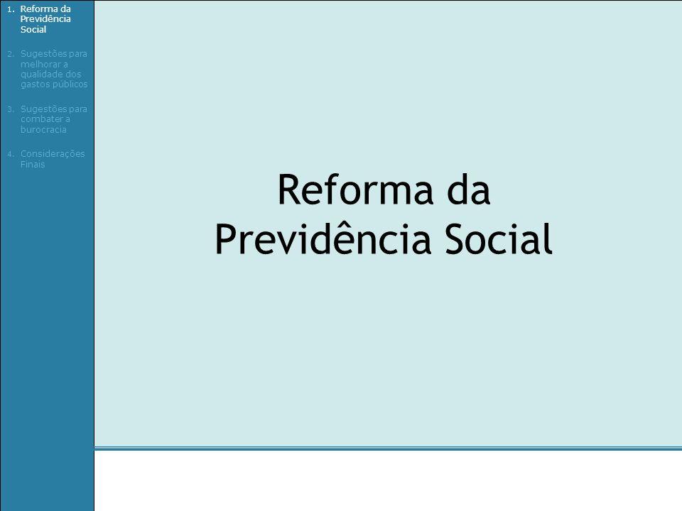 Reforma da Previdência Social 1. Reforma da Previdência Social 2. Sugestões para melhorar a qualidade dos gastos públicos 3. Sugestões para combater a
