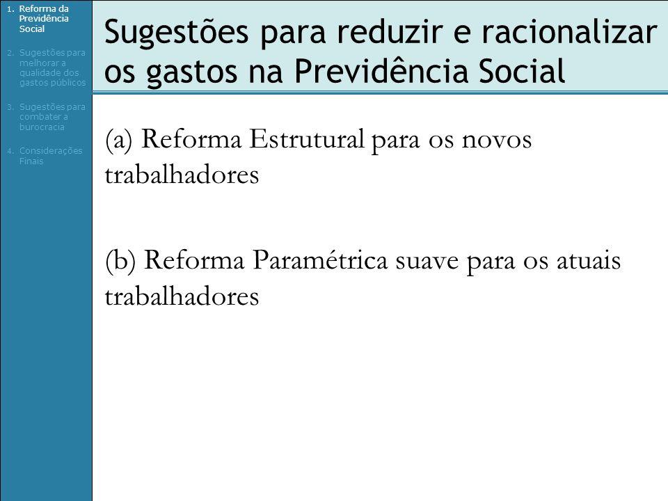 Sugestões para reduzir e racionalizar os gastos na Previdência Social (a) Reforma Estrutural para os novos trabalhadores (b) Reforma Paramétrica suave