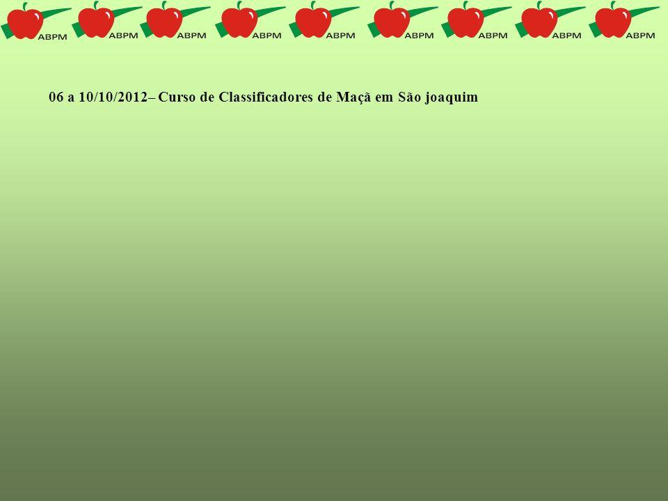 06 a 10/10/2012– Curso de Classificadores de Maçã em São joaquim
