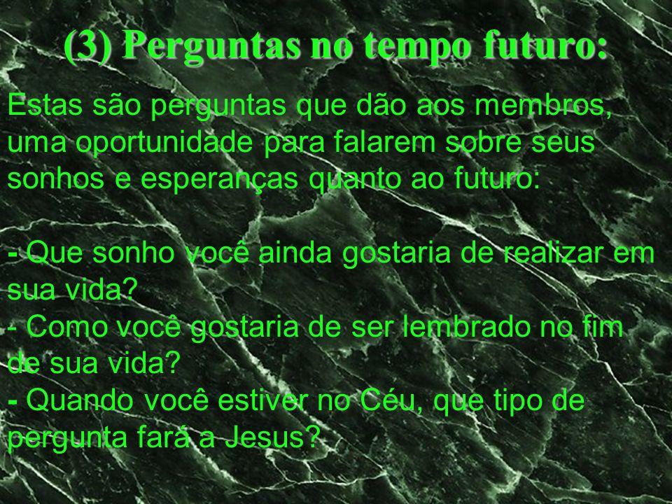 (3) Perguntas no tempo futuro: Estas são perguntas que dão aos membros, uma oportunidade para falarem sobre seus sonhos e esperanças quanto ao futuro:
