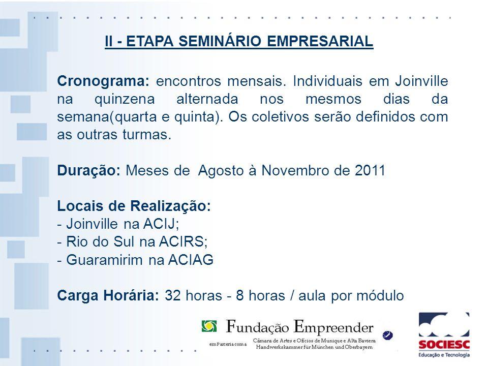 Cronograma: encontros mensais. Individuais em Joinville na quinzena alternada nos mesmos dias da semana(quarta e quinta). Os coletivos serão definidos