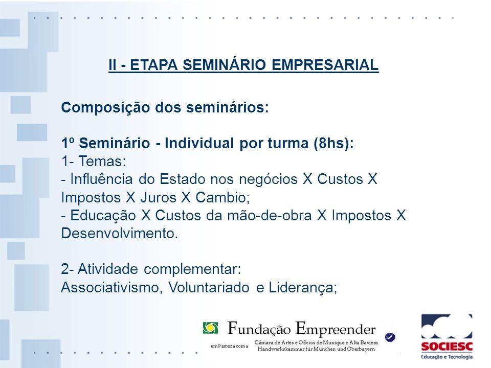 Composição dos seminários: 1º Seminário - Individual por turma (8hs): 1- Temas: - Influência do Estado nos negócios X Custos X Impostos X Juros X Camb