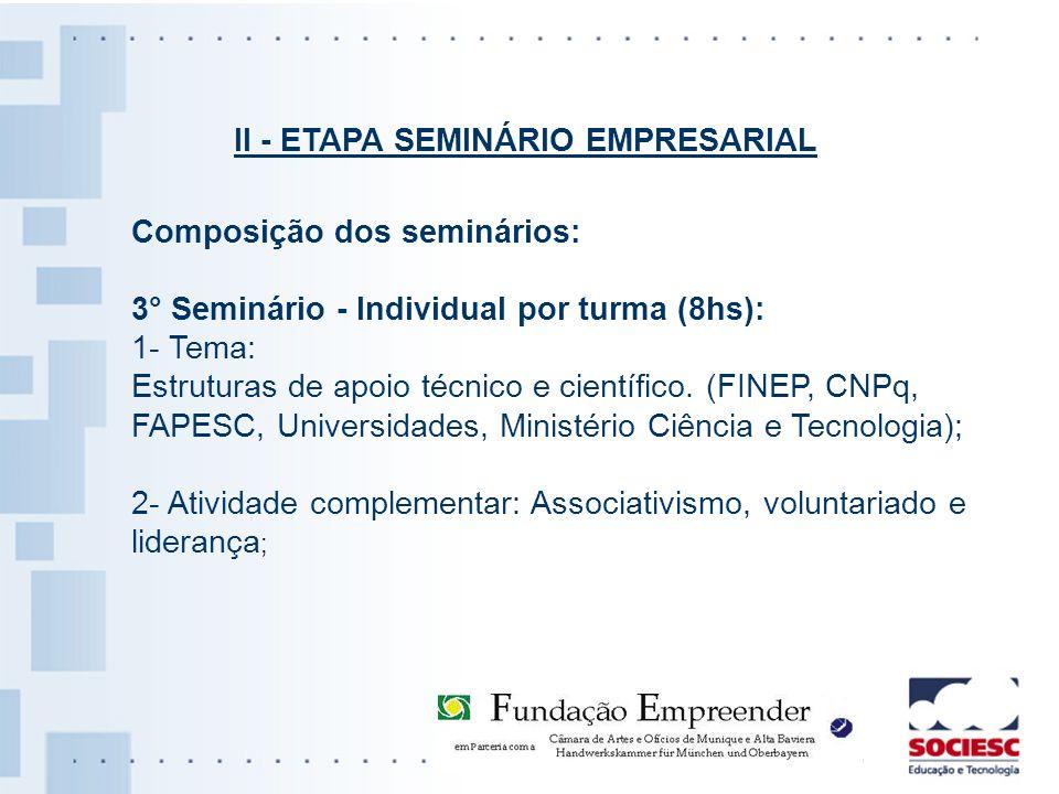 Composição dos seminários: 3° Seminário - Individual por turma (8hs): 1- Tema: Estruturas de apoio técnico e científico. (FINEP, CNPq, FAPESC, Univers
