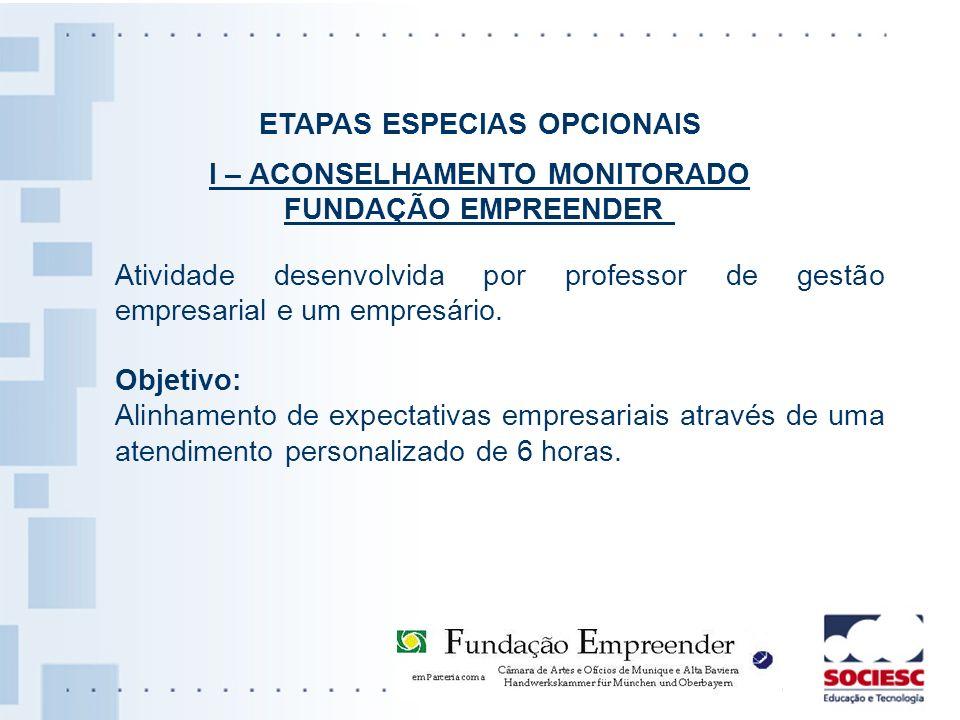 ETAPAS ESPECIAS OPCIONAIS I – ACONSELHAMENTO MONITORADO FUNDAÇÃO EMPREENDER Atividade desenvolvida por professor de gestão empresarial e um empresário