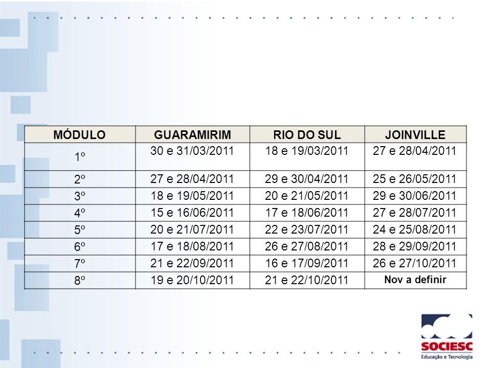 MÓDULOGUARAMIRIMRIO DO SULJOINVILLE 1º 30 e 31/03/201118 e 19/03/201127 e 28/04/2011 2º 27 e 28/04/201129 e 30/04/201125 e 26/05/2011 3º 18 e 19/05/20