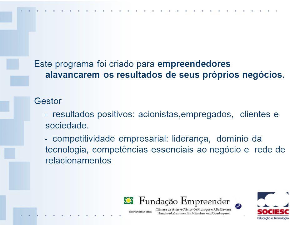 Este programa foi criado para empreendedores alavancarem os resultados de seus próprios negócios. Gestor - resultados positivos: acionistas,empregados