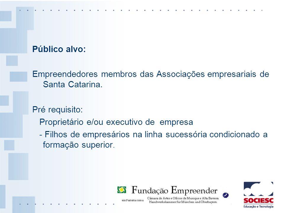 Público alvo: Empreendedores membros das Associações empresariais de Santa Catarina. Pré requisito: Proprietário e/ou executivo de empresa - Filhos de