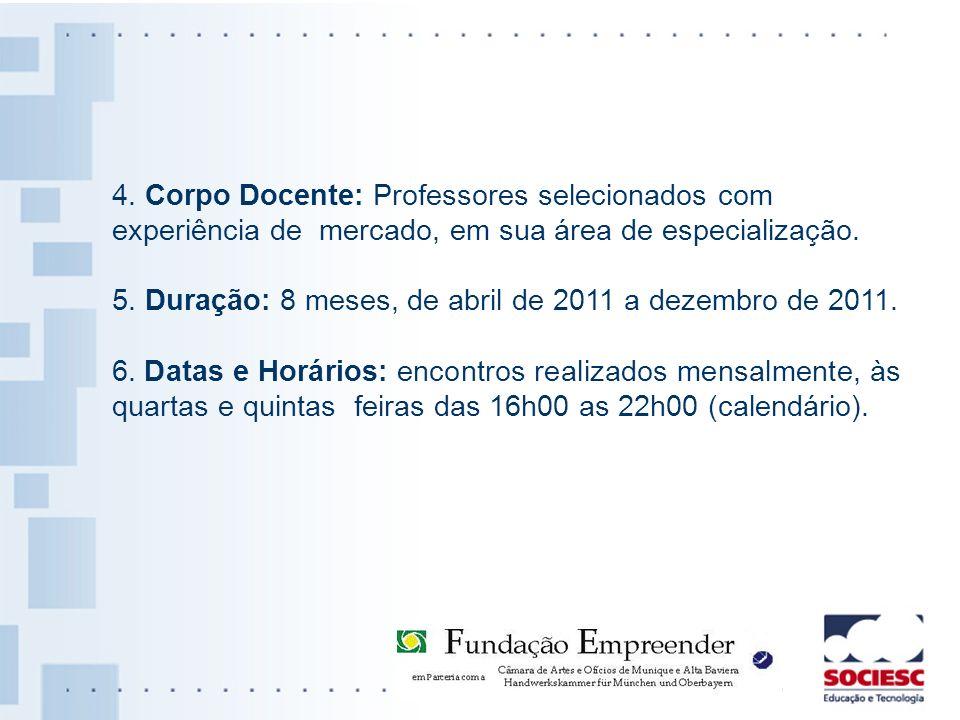 4. Corpo Docente: Professores selecionados com experiência de mercado, em sua área de especialização. 5. Duração: 8 meses, de abril de 2011 a dezembro