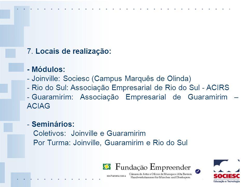 7. Locais de realização: - Módulos: - Joinville: Sociesc (Campus Marquês de Olinda) - Rio do Sul: Associação Empresarial de Rio do Sul - ACIRS - Guara