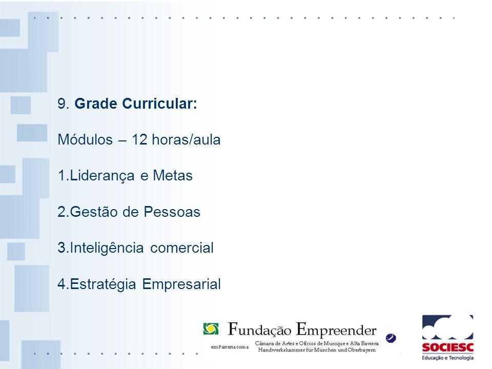 9. Grade Curricular: Módulos – 12 horas/aula 1.Liderança e Metas 2.Gestão de Pessoas 3.Inteligência comercial 4.Estratégia Empresarial