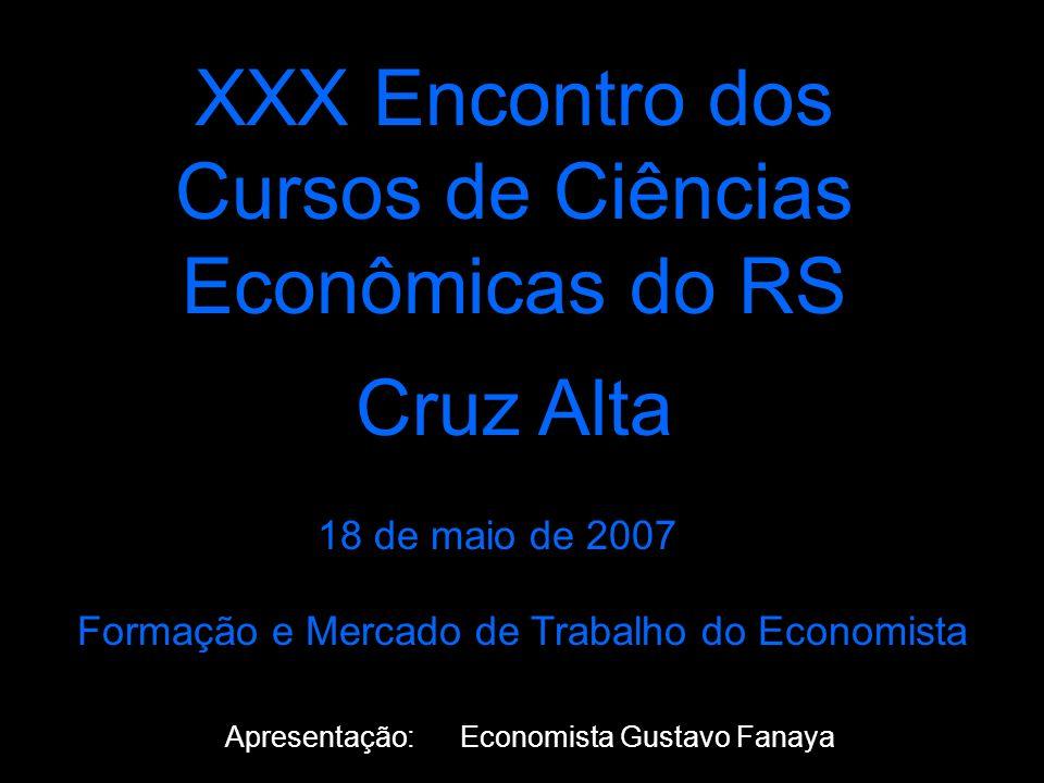 XXX Encontro dos Cursos de Ciências Econômicas do RS Cruz Alta 18 de maio de 2007 Apresentação: Economista Gustavo Fanaya Formação e Mercado de Trabalho do Economista