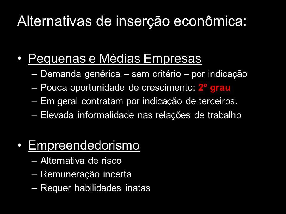 Alternativas de inserção econômica: Pequenas e Médias Empresas –Demanda genérica – sem critério – por indicação –Pouca oportunidade de crescimento: 2º grau –Em geral contratam por indicação de terceiros.