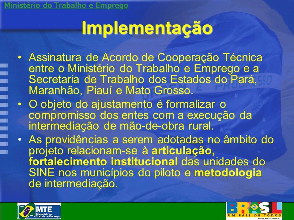 Ministério do Trabalho e Emprego Implementação Assinatura de Acordo de Cooperação Técnica entre o Ministério do Trabalho e Emprego e a Secretaria de T