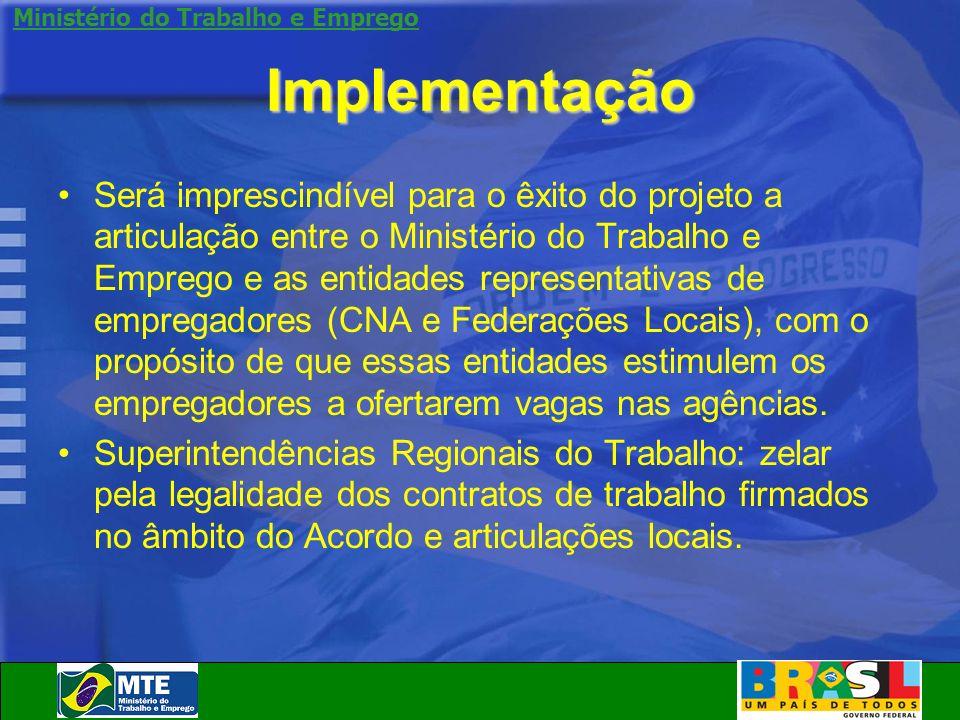 Ministério do Trabalho e Emprego Implementação Será imprescindível para o êxito do projeto a articulação entre o Ministério do Trabalho e Emprego e as
