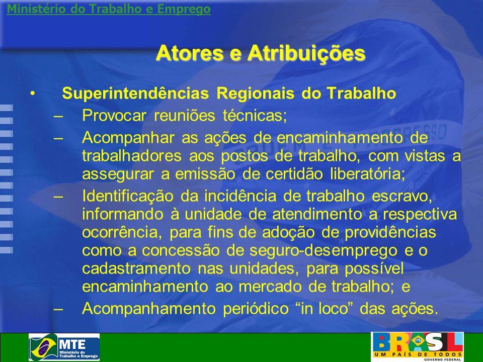 Ministério do Trabalho e Emprego Atores e Atribuições Superintendências Regionais do Trabalho –Provocar reuniões técnicas; –Acompanhar as ações de enc