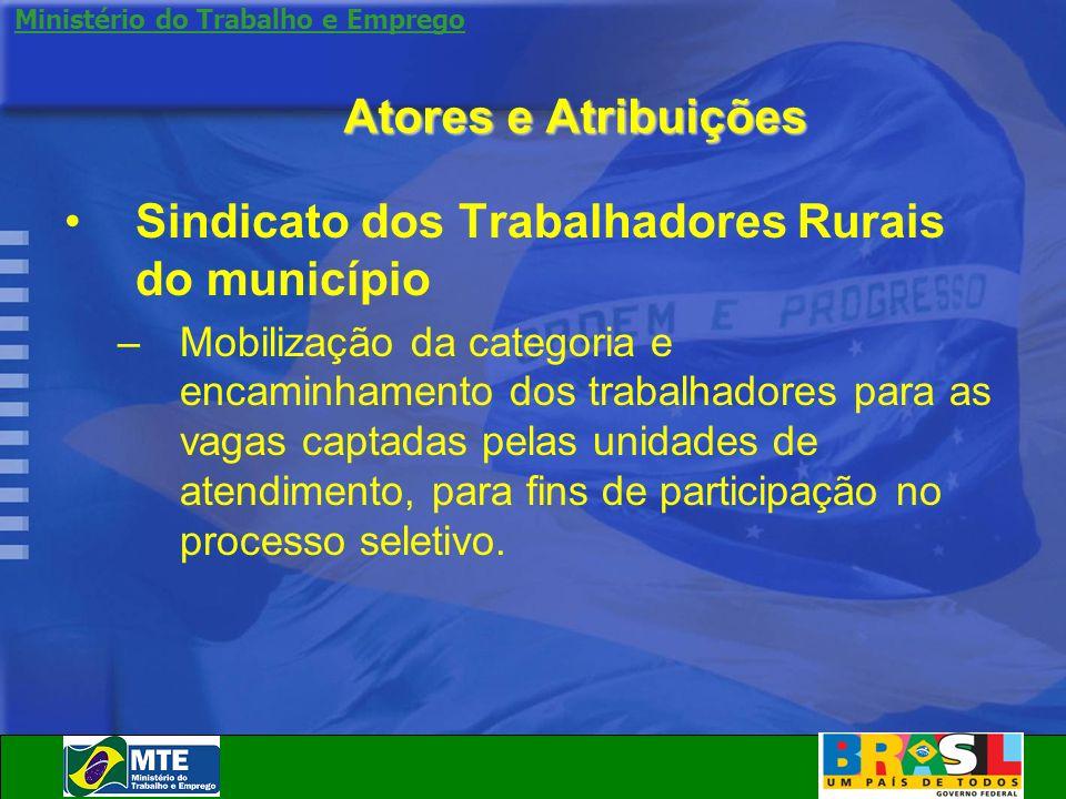 Ministério do Trabalho e Emprego Atores e Atribuições Sindicato dos Trabalhadores Rurais do município –Mobilização da categoria e encaminhamento dos t