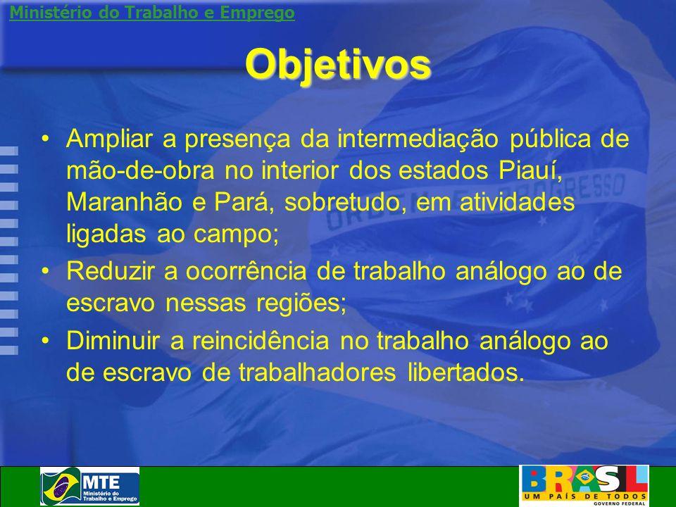 Ministério do Trabalho e Emprego Objetivos Ampliar a presença da intermediação pública de mão-de-obra no interior dos estados Piauí, Maranhão e Pará,