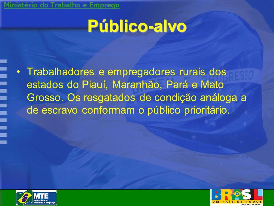 Ministério do Trabalho e Emprego Público-alvo Trabalhadores e empregadores rurais dos estados do Piauí, Maranhão, Pará e Mato Grosso. Os resgatados de