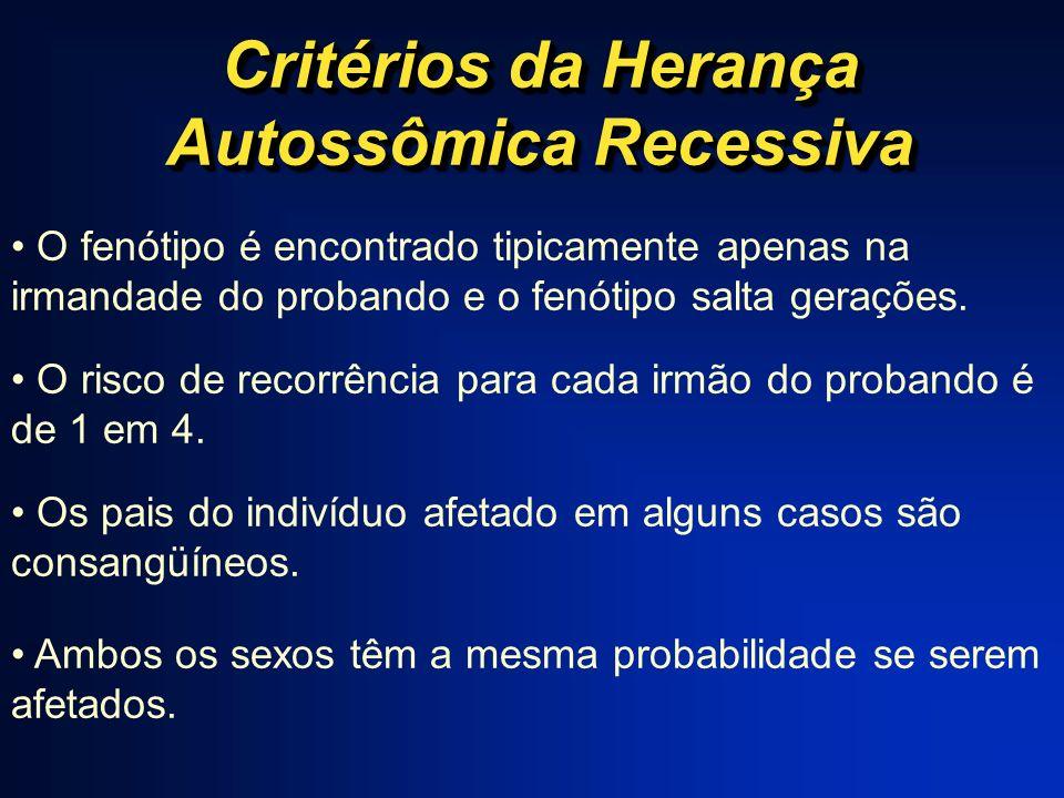Critérios da Herança Autossômica Recessiva O fenótipo é encontrado tipicamente apenas na irmandade do probando e o fenótipo salta gerações. O risco de