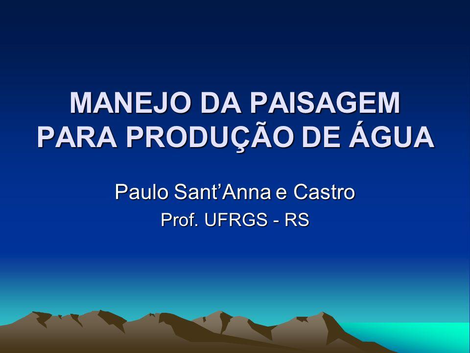 MANEJO DA PAISAGEM PARA PRODUÇÃO DE ÁGUA Paulo SantAnna e Castro Prof. UFRGS - RS