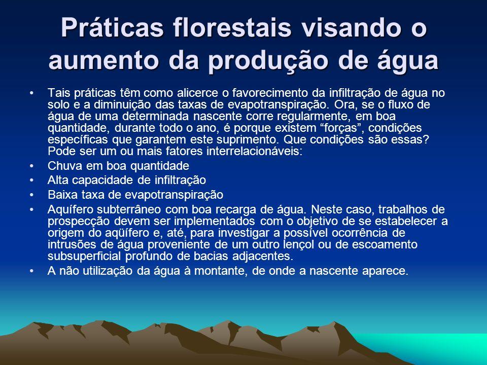 Práticas florestais visando o aumento da produção de água Tais práticas têm como alicerce o favorecimento da infiltração de água no solo e a diminuição das taxas de evapotranspiração.