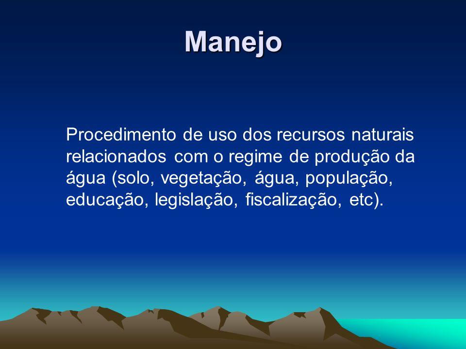 Manejo Procedimento de uso dos recursos naturais relacionados com o regime de produção da água (solo, vegetação, água, população, educação, legislação, fiscalização, etc).