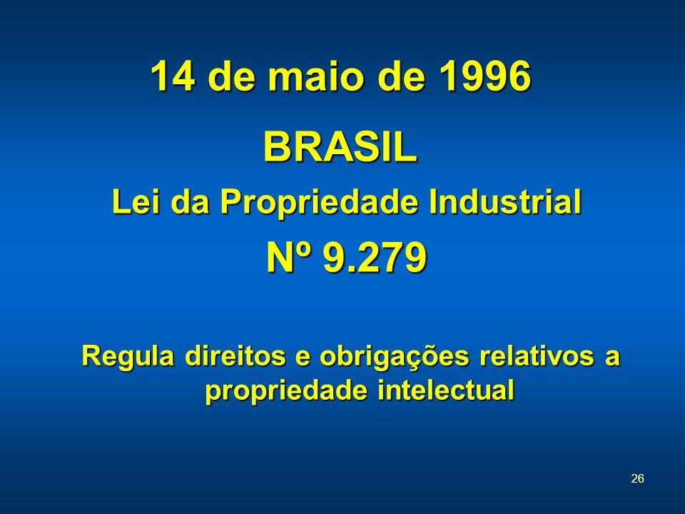 26 14 de maio de 1996 BRASIL Lei da Propriedade Industrial Nº 9.279 Regula direitos e obrigações relativos a propriedade intelectual Regula direitos e