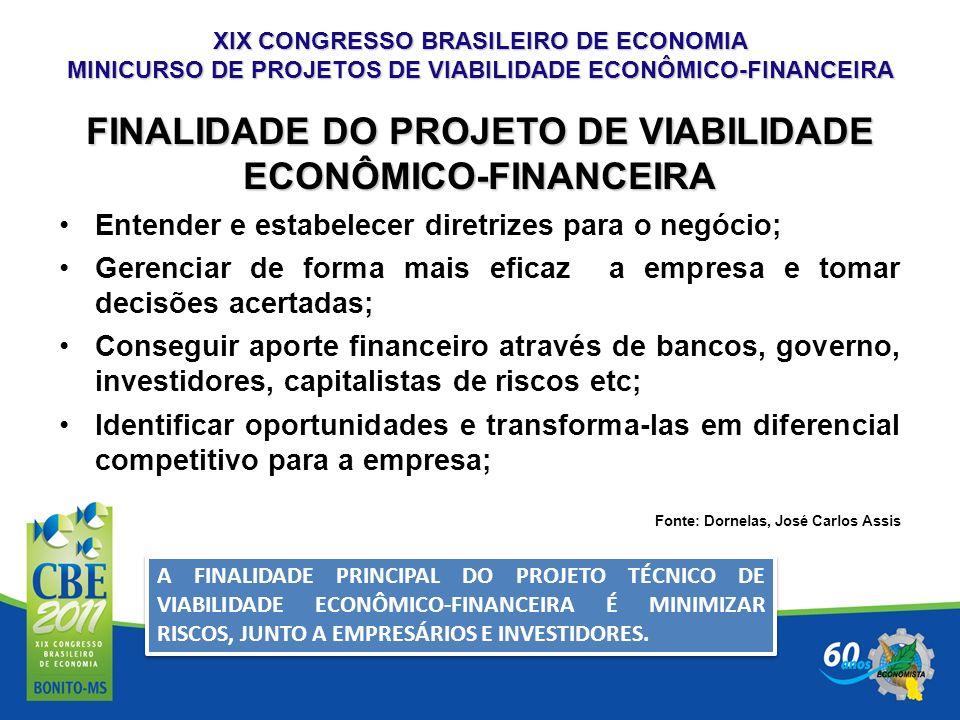 XIX CONGRESSO BRASILEIRO DE ECONOMIA MINICURSO DE PROJETOS DE VIABILIDADE ECONÔMICO-FINANCEIRA FINALIDADE DO PROJETO DE VIABILIDADE ECONÔMICO-FINANCEI