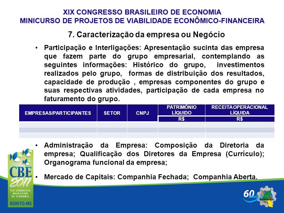 XIX CONGRESSO BRASILEIRO DE ECONOMIA MINICURSO DE PROJETOS DE VIABILIDADE ECONÔMICO-FINANCEIRA 7. Caracterização da empresa ou Negócio Participação e
