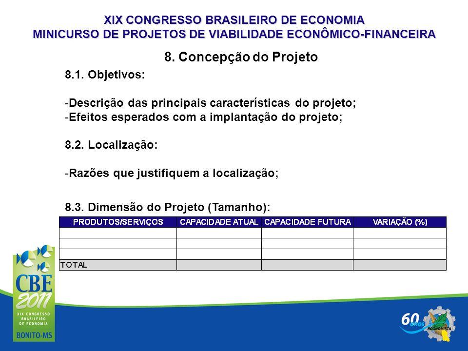 XIX CONGRESSO BRASILEIRO DE ECONOMIA MINICURSO DE PROJETOS DE VIABILIDADE ECONÔMICO-FINANCEIRA 8. Concepção do Projeto 8.1. Objetivos: -Descrição das