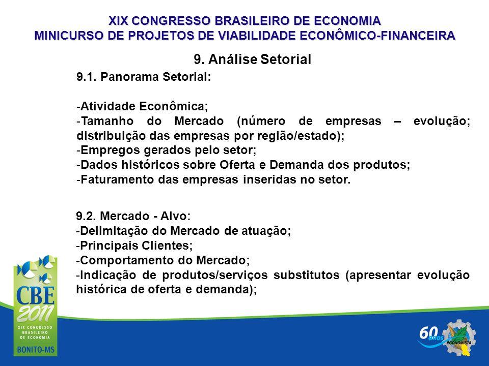 XIX CONGRESSO BRASILEIRO DE ECONOMIA MINICURSO DE PROJETOS DE VIABILIDADE ECONÔMICO-FINANCEIRA 9. Análise Setorial 9.1. Panorama Setorial: -Atividade