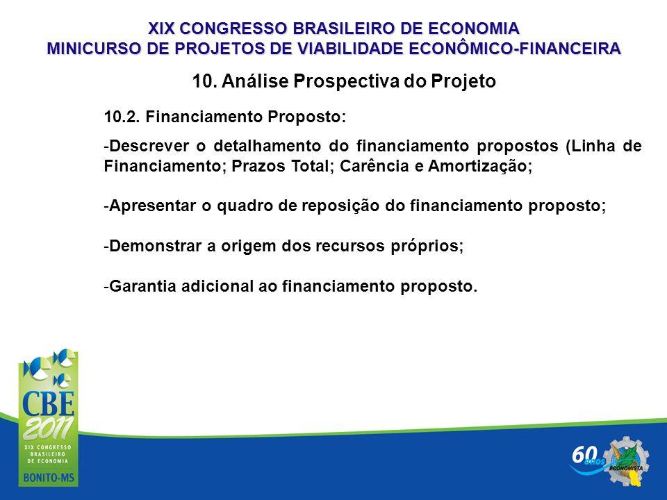 XIX CONGRESSO BRASILEIRO DE ECONOMIA MINICURSO DE PROJETOS DE VIABILIDADE ECONÔMICO-FINANCEIRA 10. Análise Prospectiva do Projeto 10.2. Financiamento
