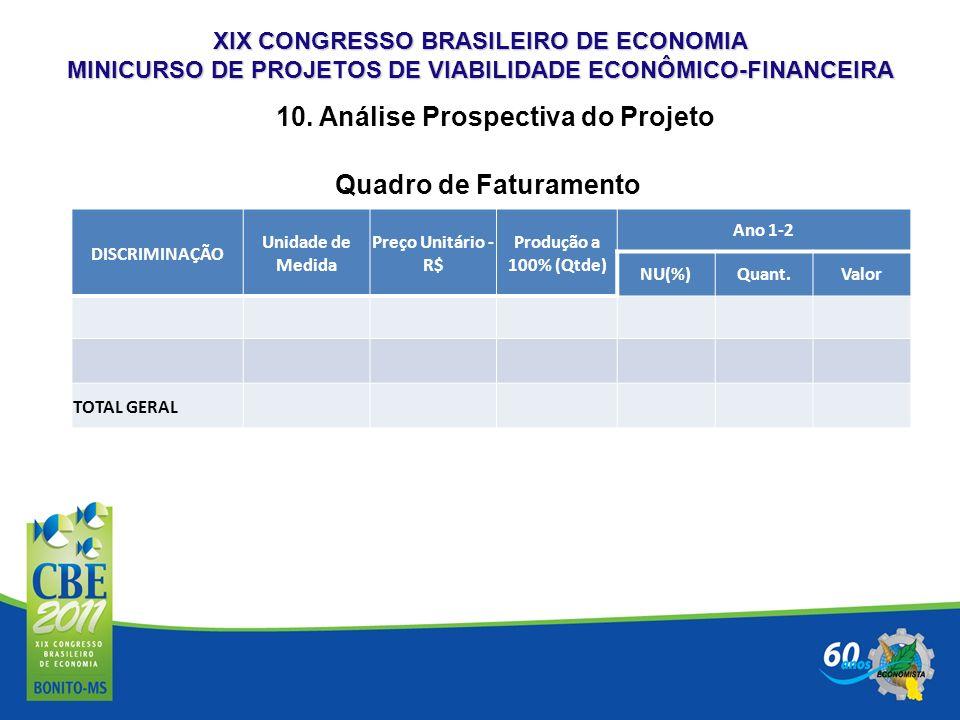 XIX CONGRESSO BRASILEIRO DE ECONOMIA MINICURSO DE PROJETOS DE VIABILIDADE ECONÔMICO-FINANCEIRA 10. Análise Prospectiva do Projeto DISCRIMINAÇÃO Unidad