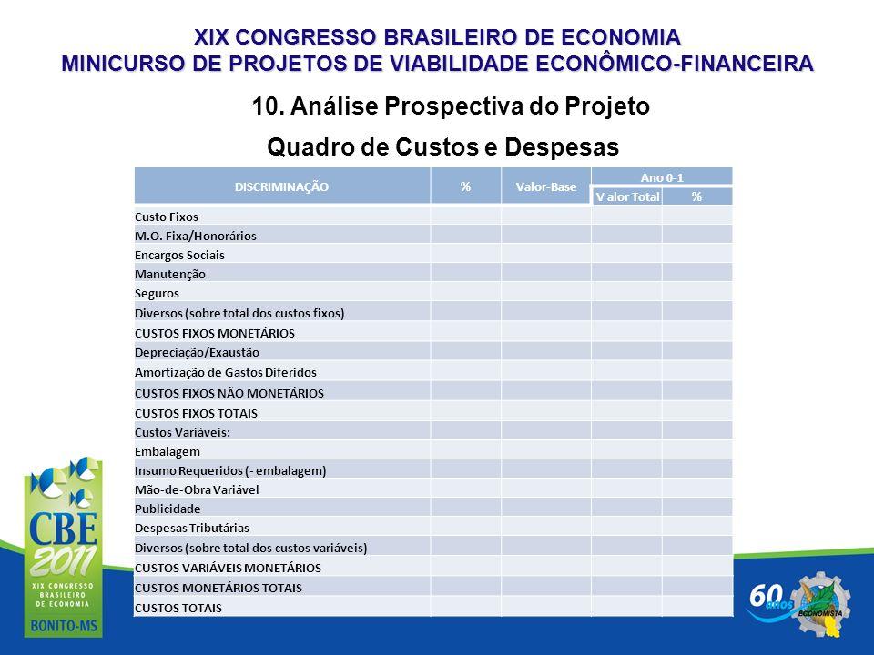 XIX CONGRESSO BRASILEIRO DE ECONOMIA MINICURSO DE PROJETOS DE VIABILIDADE ECONÔMICO-FINANCEIRA 10. Análise Prospectiva do Projeto Quadro de Custos e D