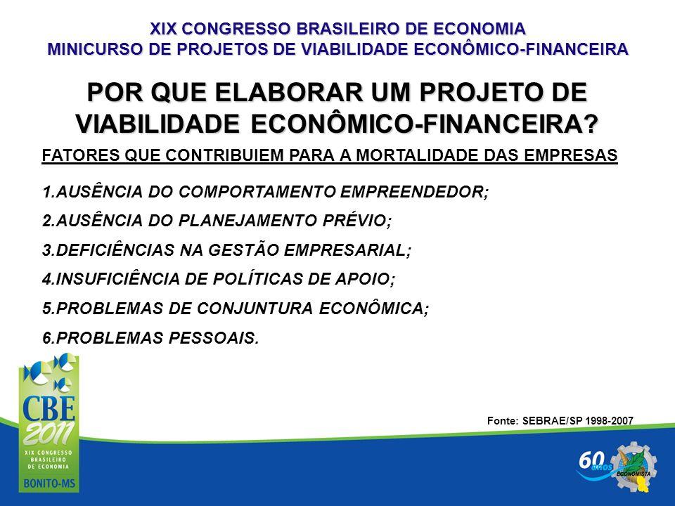 XIX CONGRESSO BRASILEIRO DE ECONOMIA MINICURSO DE PROJETOS DE VIABILIDADE ECONÔMICO-FINANCEIRA 6.